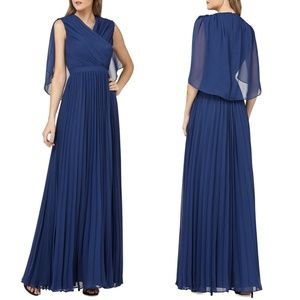 KAY UNGER Capelet Sleeves Pleated Evening Dress 10